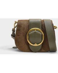 951d829b20 Polo Ralph Lauren - Belt Saddle Lennox Medium Crossbody In Olive Green  Calfskin - Lyst