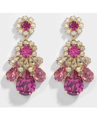 Shourouk - Ds Fushia Earrings In Pink Brass And Swarovski Crystals - Lyst