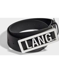 Helmut Lang - Lang Name Plate Belt In Black Leather - Lyst