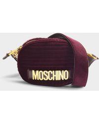 Moschino - Camera Bag In Burgundy Velvet - Lyst