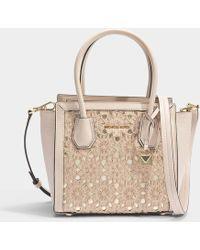 MICHAEL Michael Kors - Mercer Studio Medium Messenger Bag In Soft Pink  Flower Embroidered Smooth Leather adadbe20dfaa5