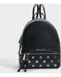 MICHAEL Michael Kors - Rhea Zip Medium Backpack In Black Polished Leather - Lyst
