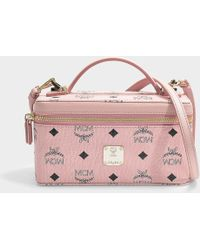 MCM - Rockstar Vanity Case Mini Bag In Soft Pink Coated Canvas - Lyst