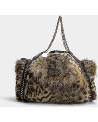 Stella McCartney - Snow Cat Fur Free Falabella Small Tote Bag In Leopard Print Synthetic Material - Lyst
