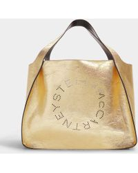 Stella McCartney - Logo Bag Metallic Small Tote In Gold Synthetic Material - Lyst