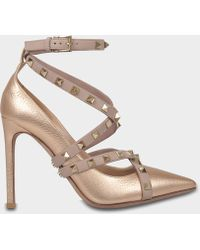 Valentino - Rockstud Pointed Court Shoes With Ankle Strap In Copper Metallic Calf - Lyst