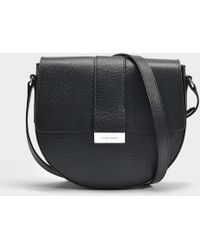 BOSS - Taylor Saddle Bag In Black Grained Calfskin - Lyst