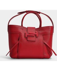 Tod's - Dot Shopping Double T Medium Bag In Red Grained Calfskin - Lyst