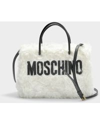 Moschino - Shearling Shoulder Bag In White Wool - Lyst