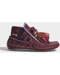 Carven - Grenelle Ankle Boots In Burgundy Suede - Lyst