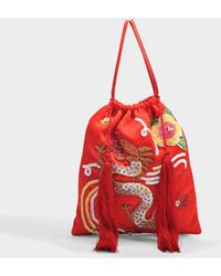 Attico - Pouch Bag In Multicolour Satin With Sequins, Pearls And Tassels - Lyst