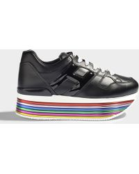 Hogan - H352 Maxi Platform Mignon Sneakers In Black And Multicolour Leather - Lyst