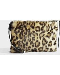 N°21 - Nastro Zipped Pouch Medium In Leopard Print Calfskin - Lyst