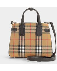 aff596745197 Lyst - Burberry Small Banner Vintage Check   Leather Tote in Black