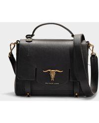 Polo Ralph Lauren - Schooly Top Handle Small Bag In Black Calfskin - Lyst