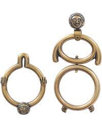 Carven - Asymmetrical Earrings In Gold Brass - Lyst