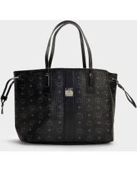 MCM - Shopper Project Visetos Reversible Shopper Medium Bag In Black Coated Canvas - Lyst
