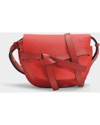 Loewe - Gate Small Bag In Red Grained Calfskin - Lyst