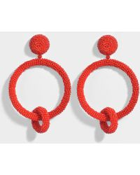 Oscar De La Renta beaded double-hoop earrings - Red dXpvNpNJE