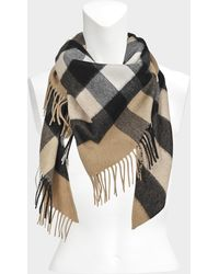 Burberry - 160x120x120 Half Mega Check Bandana Scarf In Camel Cashmere - Lyst