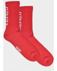 KENZO - Sport Socks In Red And White Cotton - Lyst