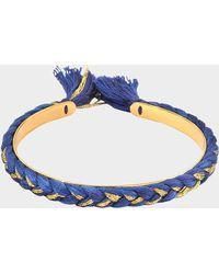 Aurelie Bidermann - Copacabana Small Bracelet In Navy Cotton And Gold Plated Brass - Lyst