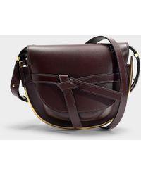 Loewe - Gate Metal Small Bag In Burgundy Calfskin - Lyst