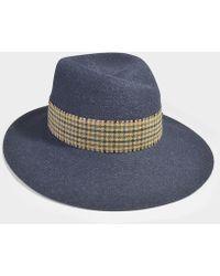 Maison Michel - Virginie Scarfed Hat In Blue Felt - Lyst