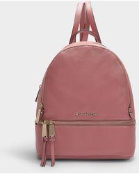 2bd1f2c425fa MICHAEL Michael Kors - Rhea Zip Medium Backpack In Rose Grained Calfskin -  Lyst