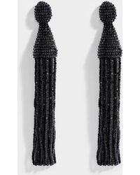 Oscar de la Renta - Long Beaded Tassel Clip Earrings In Jet Synthetic Material - Lyst
