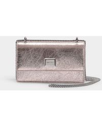e0c0fb45d163 Jimmy Choo - Leni Clutch With Chain In Rose Gold Crinkled Coated Fabric -  Lyst