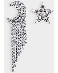 Helene Zubeldia - Exclusivity - Asymmetrical Star And Moon Crystals Cascade Earrings In Ruthenium And Crystals - Lyst