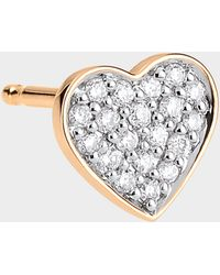 Ginette NY - Single Tiny Diamond Heart Stud Earring In 18k Rose Gold And Diamonds - Lyst