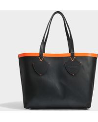 Burberry - Medium Check Tote Bag In Black And Neon Orange Canvas And Calfskin - Lyst