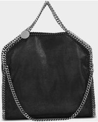 Stella McCartney Shaggy Deer Falabella Three Chains Bag In Black Eco Leather