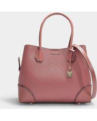 MICHAEL Michael Kors - Mercer Gallery Medium Center Zip Tote Bag In Rose Grained Calfskin - Lyst