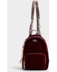 Karl Lagerfeld - Karl X Kaia Velvet Mini Backpack In Burgundy Cotton - Lyst