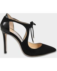 Jimmy Choo - Vanessa 100 Suede Tie Up Court Shoes In Black Suede And Nappa - Lyst