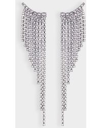 Helene Zubeldia - Crystals Cascade Earrings In Ruthenium And Crystals - Lyst