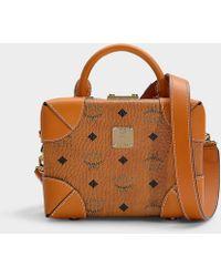 MCM - Soft Berlin Visetos Small Crossbody Bag In Cognac Pvc - Lyst