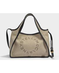 Stella McCartney - Linen Canvas Crossbody Stella Logo Bag In Desert Beige Eco Fabric - Lyst