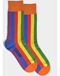 Burberry - Rainbow Stripe Socks In Multicolor Cotton - Lyst