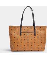 d5f7e3e38941b MCM - Shopper Anya Medium aus cognacfarbenem Visetos Stoff - Lyst