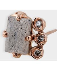 Jacquie Aiche - Diamond Bezel Labradorite Baguette Stud Mono Earring In 14k Rose Gold And Diamonds - Lyst