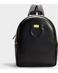 Ferragamo - Gancio City Backpack In Black Calfskin - Lyst