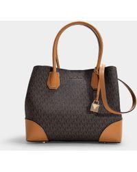 e3c59614a71a MICHAEL Michael Kors - Mercer Gallery Medium Center Zip Tote Bag In Brown  And Acorn Canvas