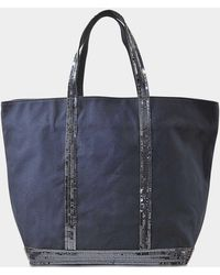 Vanessa Bruno - Canvas And Sequins Medium + Zipped Tote In Blue Cotton - Lyst