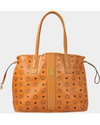 MCM - Project Visetos Reversible Shopper Bag In Cognac Visetos - Lyst