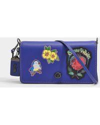 COACH - Dark Fairytale Patches Dinky Crossbody Bag In Purple Calfskin - Lyst