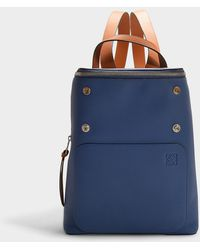 Loewe - Goya Small Backpack In Blue And Brown Calfskin - Lyst